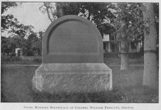 Stone marker of Col Prescott's birthplace