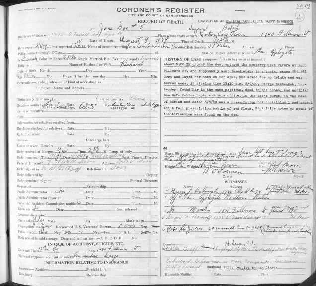 SF Coroner's register, Aug, 1949