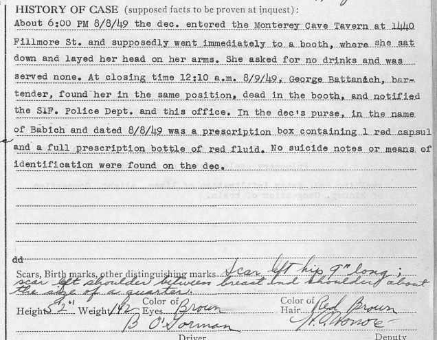 SF Coroner's register, Aug, 1949 det1