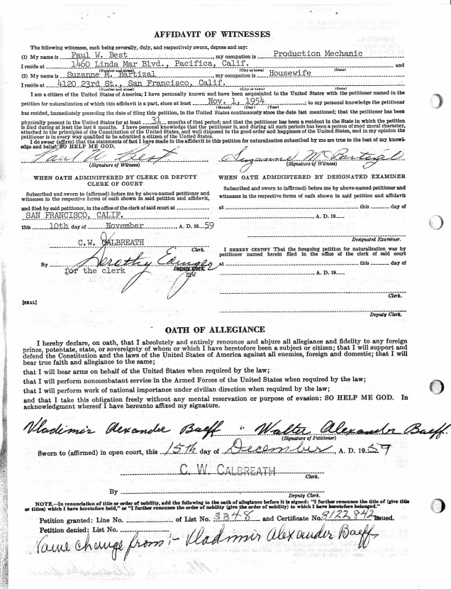 Vlad aka Walter Baeff nat papers detail 1