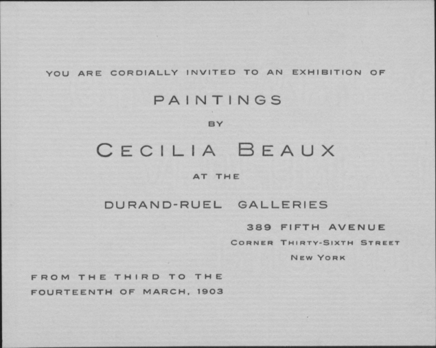 Cecilia Beaux at Durand-Ruel 1903 invitation